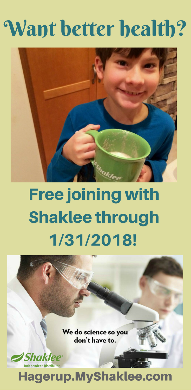 Want better health? You are in luck. Right now thru the end of January, you can join Shaklee for free! Lot of nutritional products, supplements, kids' vitamins, non-toxic cleaners, natural skin care, weight management, and more for you to choose from. This is the company you have been looking for if you are into healthy living. Visit http://hagerup.myshaklee.com and join there.